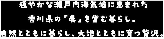 穏やかな瀬戸内海気候に恵まれた 香川県の「農」を営む暮らし。 自然とともに暮らし、 大地とともに育つ贅沢。